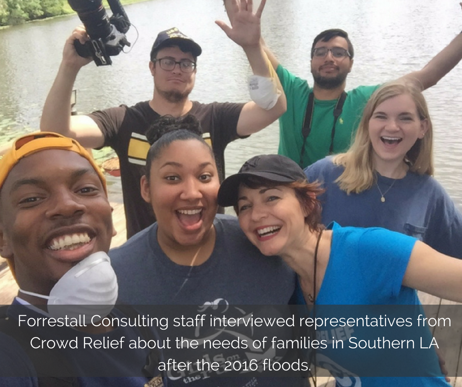 forrestall-consulting-staff-interviews-representatives-from-crowd-relief-about-the-needs-of-families-in-southern-la-after-the-2016-floods