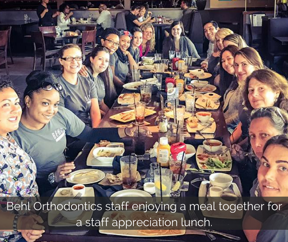 behl-orthodontics-staff-enjoying-a-meal-together-for-a-staff-appreciation-lunch