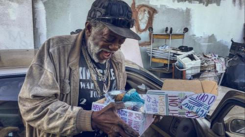"""Homeless Man Finds Joy from a We Care Kit"" by Carolyn & Small Acts Big Change"